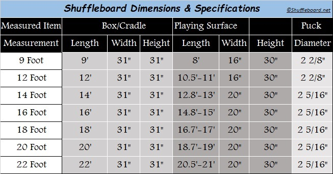 Shuffleboard Dimensions And Specifications