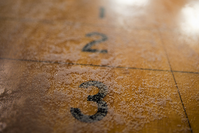 Shuffleboard Table Close Up