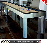 9' Brushed Stainless Steel Shuffleboard Table